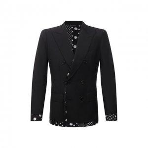 Пиджак из шерсти и шелка Dolce & Gabbana. Цвет: чёрный