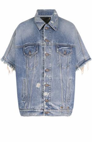 Джинсовая куртка с потертостями и коротким рукавом R13. Цвет: синий
