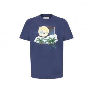 Хлопковая футболка Casablanca. Цвет: синий