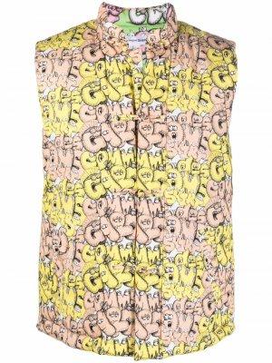 Жилет с логотипом из коллаборации Kaws Comme Des Garçons Shirt. Цвет: желтый