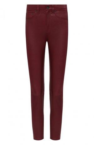 Кожаные брюки Rag&Bone. Цвет: красный
