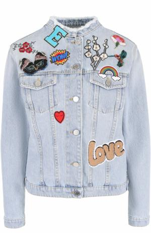 Джинсовая куртка с воротником-стойкой и нашивками Ermanno Scervino. Цвет: голубой