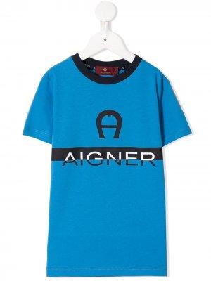 Футболка с круглым вырезом и логотипом Aigner Kids. Цвет: синий