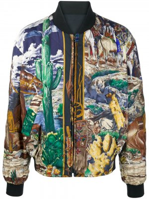 Двусторонняя куртка-бомбер Hermès. Цвет: синий