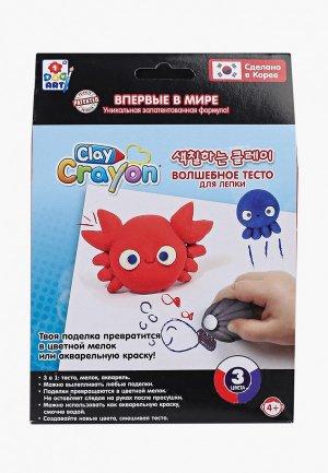 Набор для творчества 1Toy Clay Crayon тесто-мелков Крабик (3 цвета по 30 гр). Цвет: разноцветный