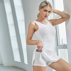Дышащее быстросохнущее спортивное платье с карманом SHEIN. Цвет: белый