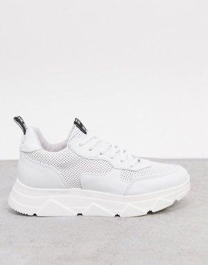Белые кожаные кроссовки на платформе -Белый Steve Madden