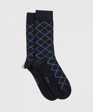 Классические носки с жаккардом «ромбы» O`Stin. Цвет: глубокий синий