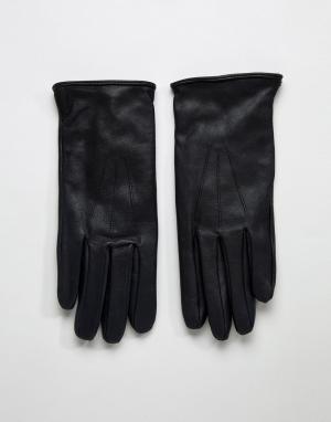 Черные кожаные перчатки -Черный Paul Costelloe