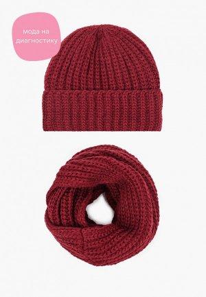 Комплект Dispacci шапка и снуд. Цвет: бордовый