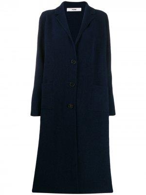 Однобортное пальто-кардиган Roberto Collina. Цвет: синий