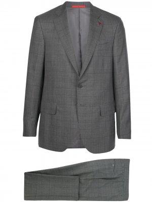 Клетчатый костюм с однобортным пиджаком Isaia. Цвет: серый