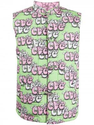 Дутый жилет с логотипом Comme Des Garçons Shirt. Цвет: розовый