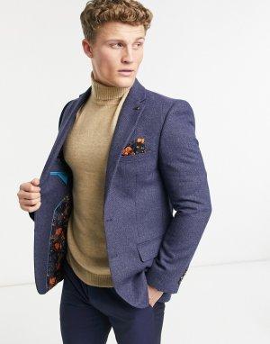 Темно-синий приталенный пиджак из фактурной шерсти Harry Brown