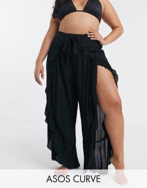 Пляжные брюки с разрезами и оборками ASOS DESIGN CURVE-Черный Curve