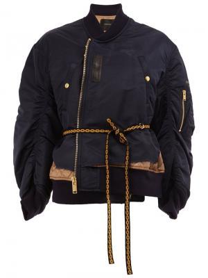 Oversized sleeves bomber jacket Undercover. Цвет: синий