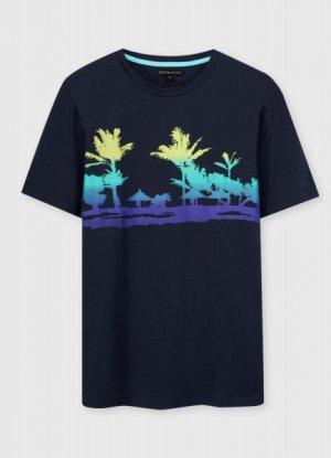 Футболка с тропическим принтом O`Stin. Цвет: глубокий синий