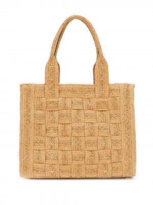 Большая сумка-тоут с заклепками Casadei. Цвет: коричневый