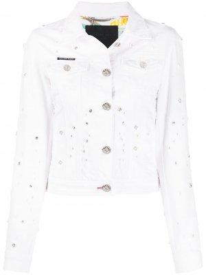 Джинсовая куртка с кристаллами Philipp Plein. Цвет: белый