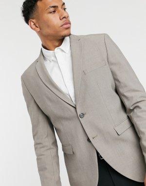 Светло-серый пиджак узкого кроя -Бежевый Selected Homme