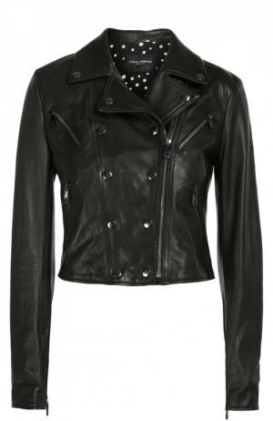 Кожаная укороченная куртка с косой молнией Dolce & Gabbana. Цвет: черный