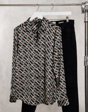 Атласная рубашка классического кроя с длинными рукавами и черным геометрическим принтом -Черный ASOS DESIGN