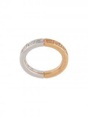 Кольцо Meander с гравировкой Versace. Цвет: золотистый