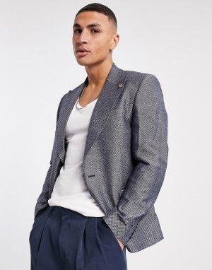 Белый и синий пиджак с мелким жаккардовым геометрическим рисунком Twisted Tailor