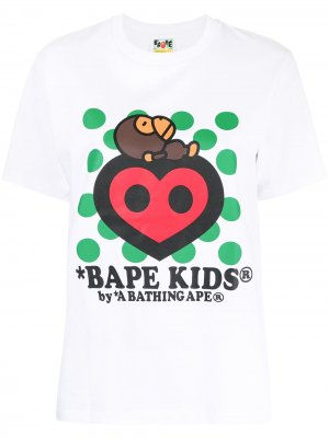 Bape Kids heart T-shirt A BATHING APE®. Цвет: белый