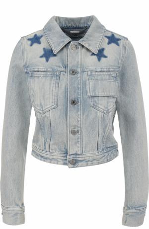 Укороченная джинсовая куртка с потертостями Givenchy. Цвет: темно-синий
