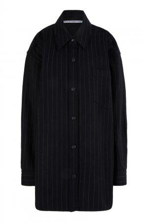 Черное хлопковое пальто в полоску Alexander Wang.t. Цвет: черный