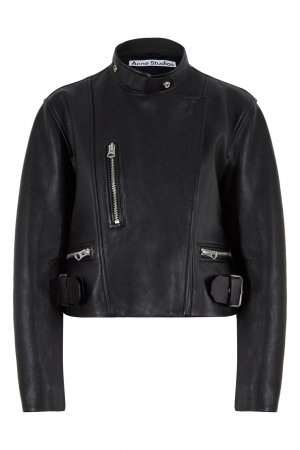Черная кожаная куртка-косуха Acne Studios. Цвет: черный