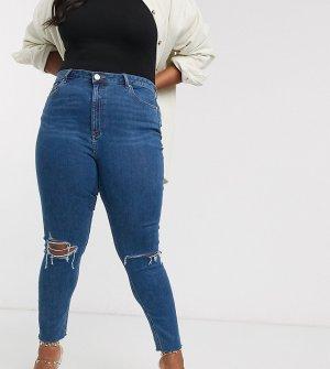 Синие джинсы скинни с завышенной талией и рваной отделкой ASOS DESIGN Curve-Синий Curve