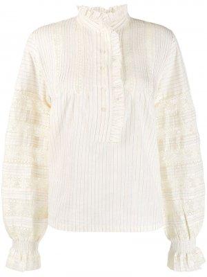 Полосатая рубашка с оборками Antik Batik. Цвет: бежевый