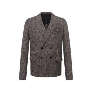 Пиджак из шерсти и шелка Bottega Veneta. Цвет: коричневый