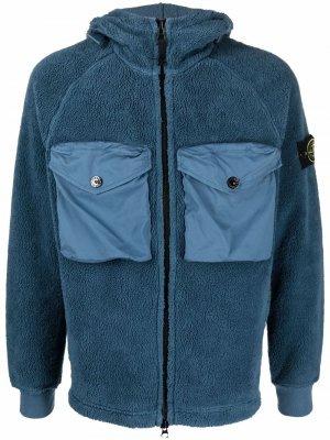 Флисовая куртка с нашивкой Compass Stone Island. Цвет: синий