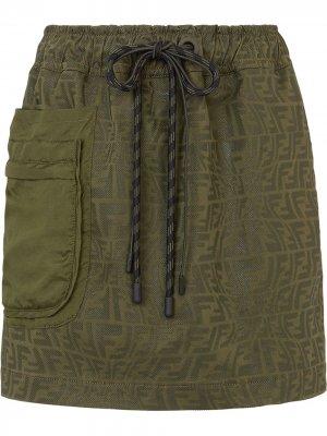 Джинсовая юбка мини с логотипом FF Fendi. Цвет: зеленый