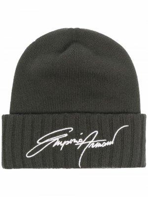 Embroidered beanie hat Emporio Armani. Цвет: зеленый