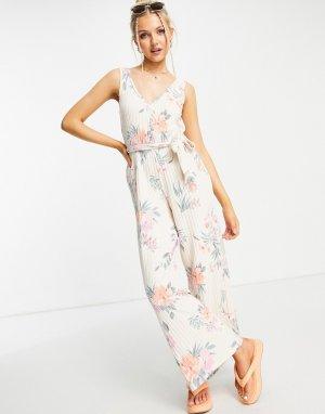 Комбинезон в рубчик с широкими штанинами и цветочным принтом -Белый Gilly Hicks