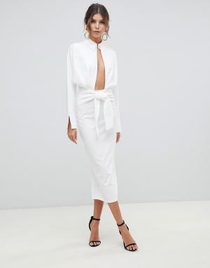 Платье-рубашка миди с длинными рукавами ASOS DESIGN