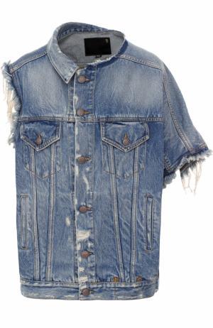 Джинсовая куртка асимметричного кроя с потертостями R13. Цвет: синий