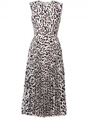 Плиссированное платье с леопардовым принтом Jason Wu Collection. Цвет: белый