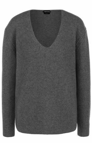 Пуловер фактурной вязки с V-образным вырезом Tom Ford. Цвет: серый