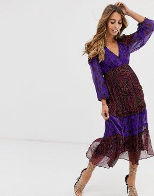 Платье миди с принтом -Фиолетовый BA&SH
