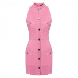 Джинсовое платье Balmain. Цвет: розовый