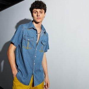 Мужской Джинсовая рубашка на пуговицах с карманом SHEIN. Цвет: синий цвет средней стирки