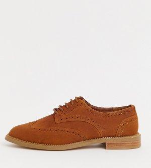 Светло-коричневые броги для широкой стопы -Светло-коричневый ASOS DESIGN