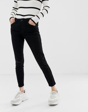 Черные укороченные зауженные джинсы -Черный Bershka