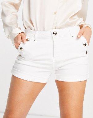 Белые джинсовые шорты с золотистыми пуговицами -Белый Morgan