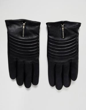 Кожаные байкерские перчатки Boardmans. Цвет: черный
